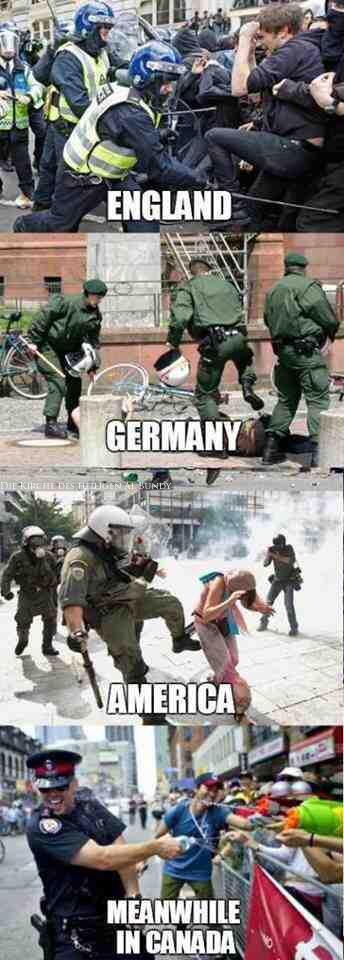 Lustige Bilder - Polizei und Demonstranten prügeln sich