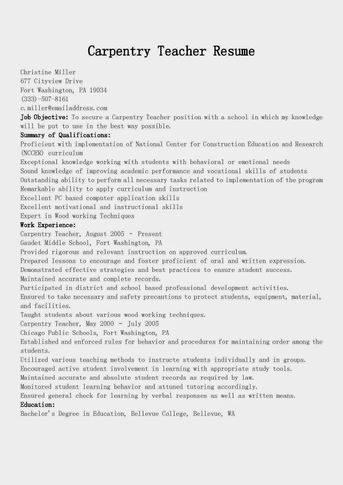 Carpentry Resume Resume Samples Carpentry Teacher Resume Sample