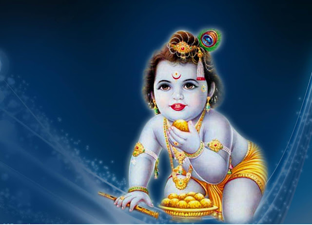 Best Bal Krishna / Shree Krishna Janmashtami  Wallpaper In Blue Background