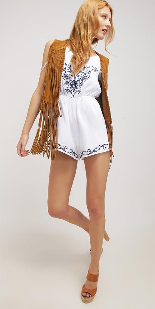 Combinaison short femme blanche en coton Glamorous