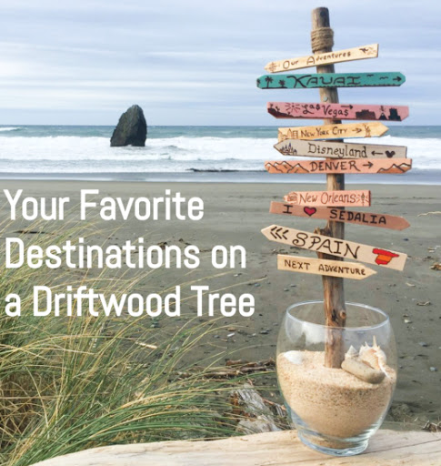 Custom Destination Arrow Signs on Driftwood Tree