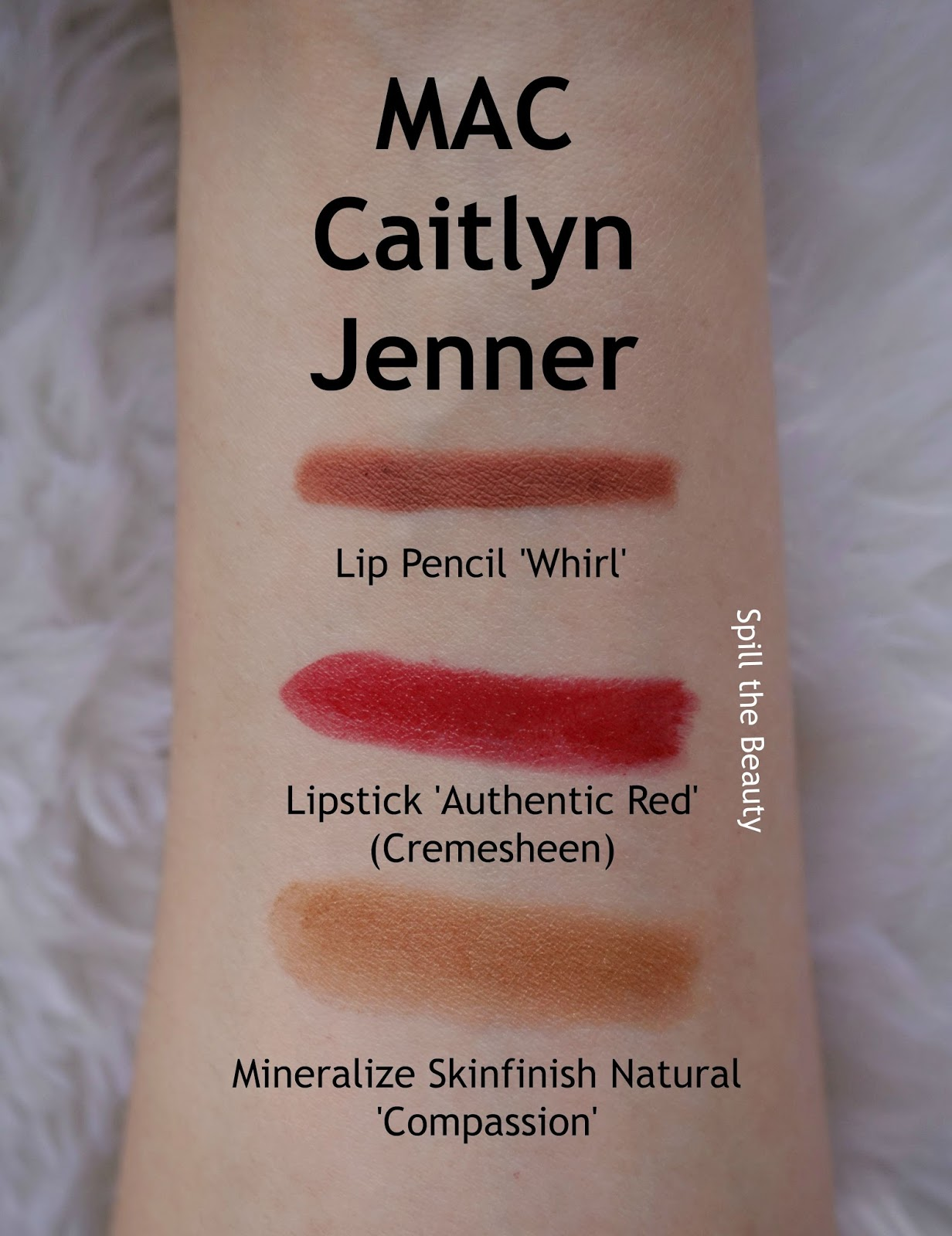 mac caitlyn jenner review swatches authentic red whirl compassion 10 arm swatches