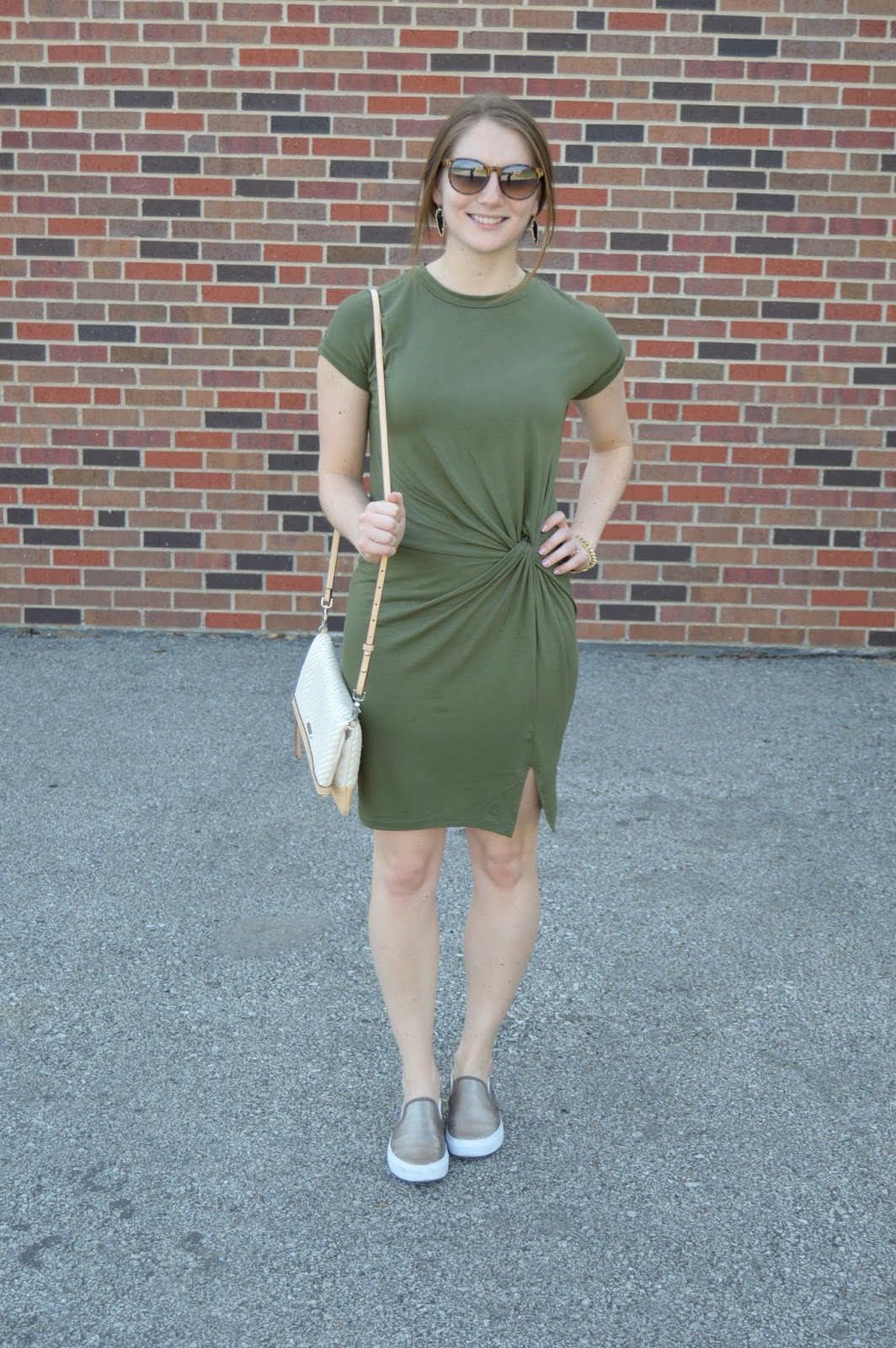 the most figure flattering t-shirt dress | olive green t-shirt dress | a memory of us | casual weekend looks | what to wear with gold sneakers | figure flattering dresses | casual outfit ideas | summer outfit ideas | what to wear this summer