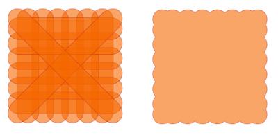Quadrat mit Wellenrand