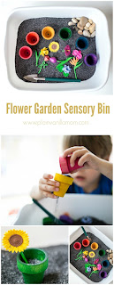 gardening sensory bin, flower sensory bin, planting sensory bin