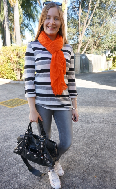 bright orange crinkle scarf with monochromatic striped tee grey skinny jeans converse balenciaga part time outfit | away from blue