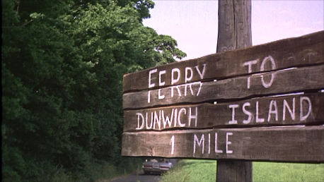 ferry to dunwich sign from The Shuttered Room (1966)