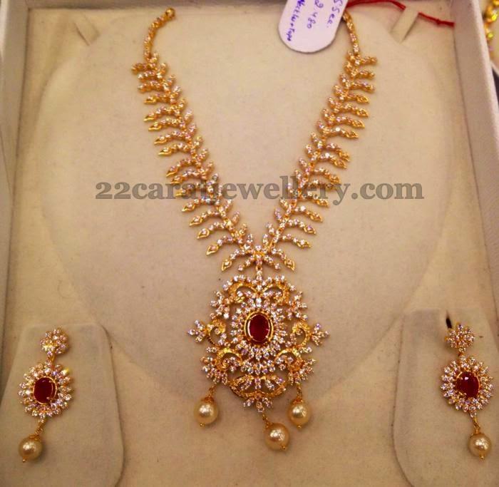 Very Nice Work Cz Necklace Jewellery Designs