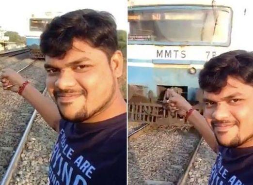 VÍDEO: Homem filma próprio atropelamento por um trem enquanto tirava uma selfie