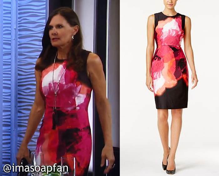 Lucy Coe, Lynn Herring, Pink and Black Abstract Print Dress, Calvin Klein, GH, General Hospital