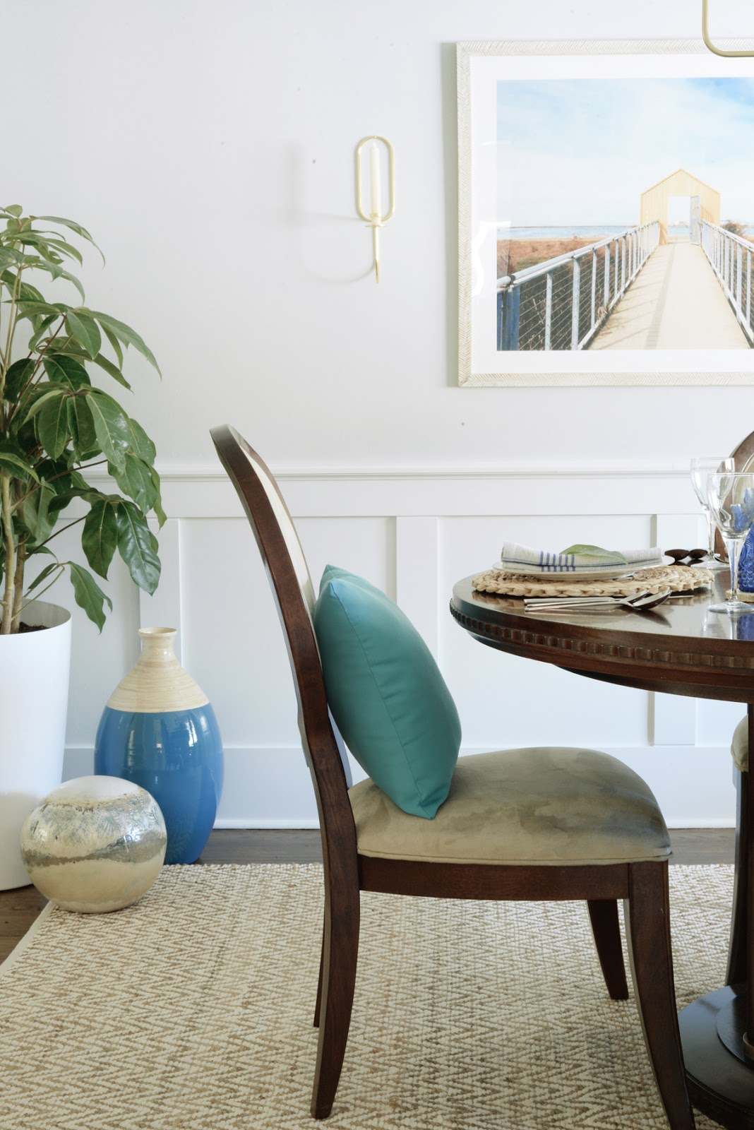 Rambling Renovators | tropical dining room with blue, bamboo, rattan