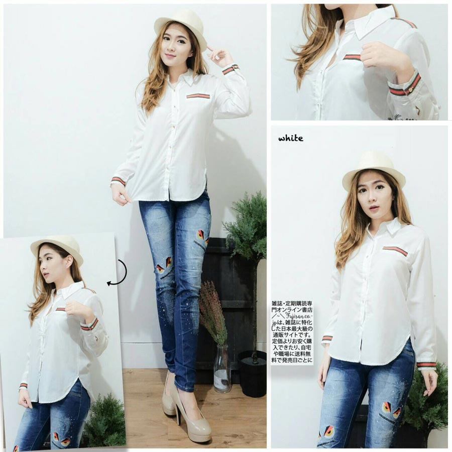Jual Baju Lengan Panjang White List Long Sleeves Blouse - 13082
