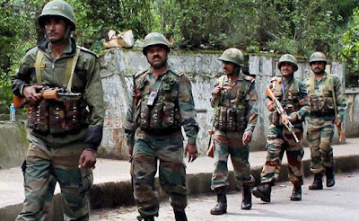 Paramilitary force road marching during Darjeeling strike by morcha