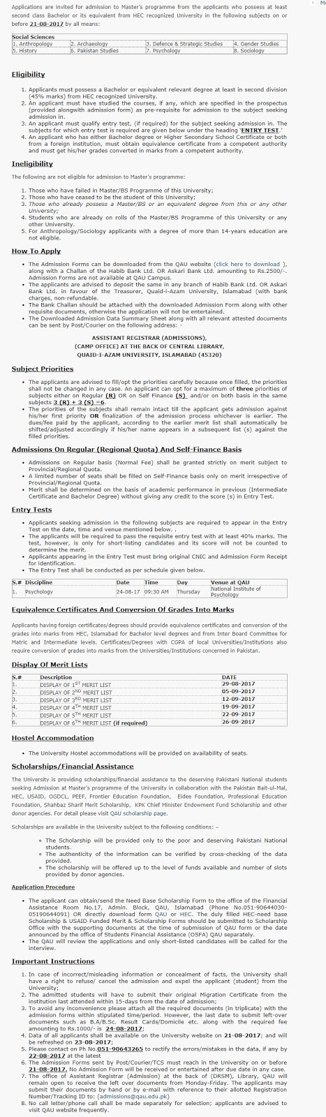 Master Scholarship at Quaid i Azam University(QAU) for Pakistani Students
