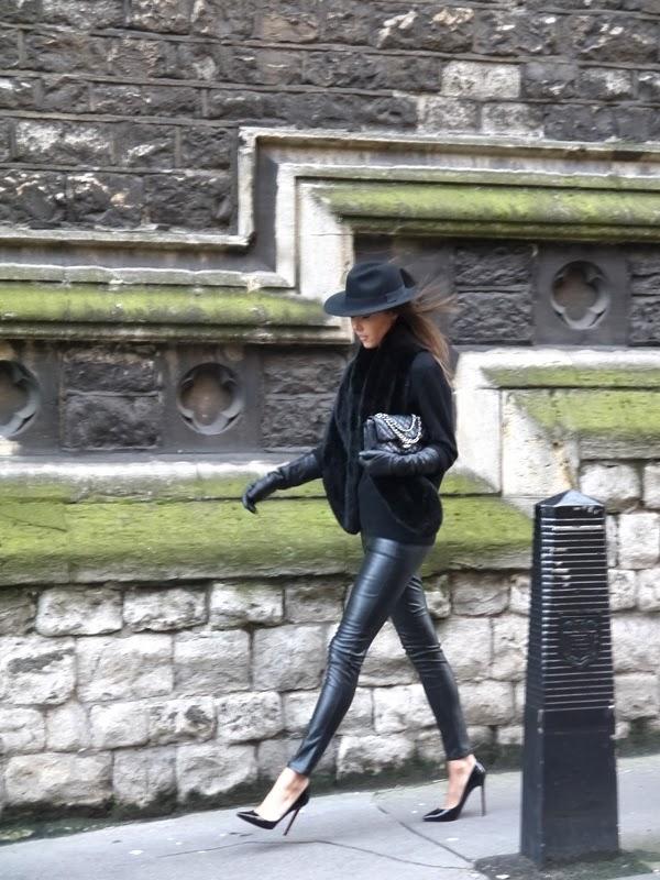 Fedora, Chanel Handbag, Leather Leggings, Christian Louboutin Pigalle Stilettos, Mayfair