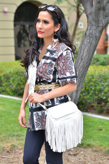 Free People gold and white beaded fringe earrings Joanna Joy A Stylish Love Story Blog petite fashion blogger lifestyle blogger beach photo california beaches Gucci bamboo sunglasses vintage shirt white fringe bag long black hair Califoria fashion blogger boho chic global chic global fashion