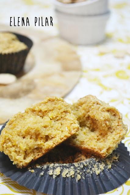 Muffins de sirope de arce, coco, almendra y naranja (sin huevo)