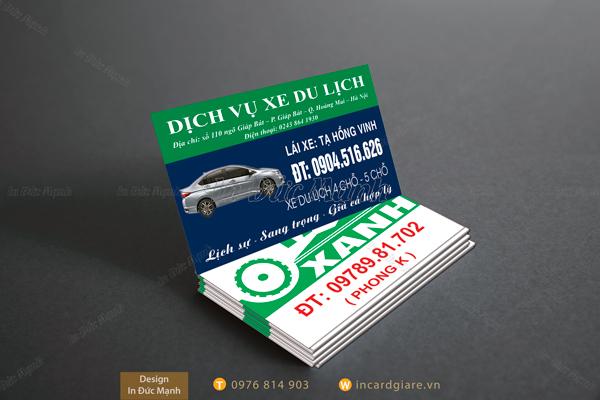 Mẫu card visit Dịch vụ xe du lịch