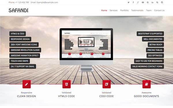 download safandi html5 css3 one page template bootstrap