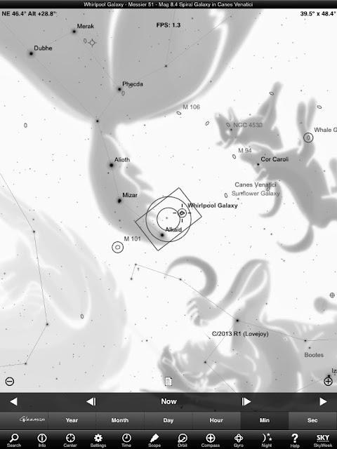 在等待Lovejoy升上來之前可以先拍拍M101和M51這兩個星系,這兩個星系就在北斗七(瑤光)的兩側於DA*200的視野範圍內,不難找。