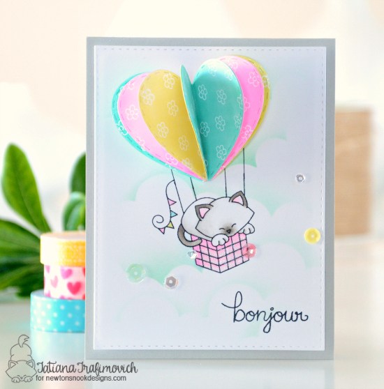 Bonjour Cat Card by Tatiana Trafimovich featuring Newton Dreams of Paris by Newton's Nook Designs #newtonsnook