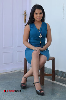 Telugu Actress Kulakarni Mamatha Stills in Blue Short Dress at Idea movie Creations Launch  0172.JPG