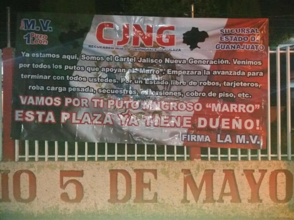 """""""Vamos por ti mugroso Marro, esta plaza ya tiene dueño"""", CJNG cuelgan narcomantas en Guanajuato"""