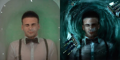 man inside water before after