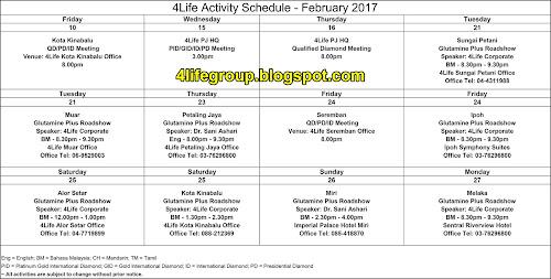 foto Jadual Aktiviti Bulanan Februari 2017 4Life Malaysia