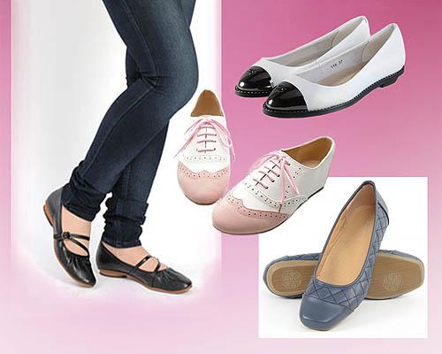 sepatu wanita hak datar dari kulit sintetis
