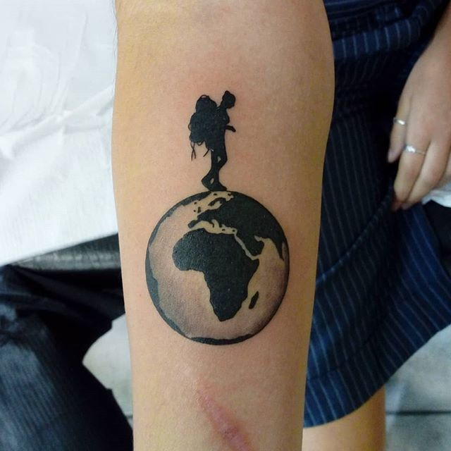 earth tattoo and space men