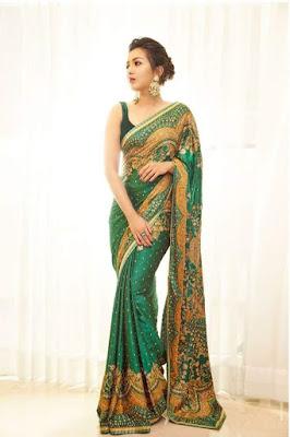 Actress Catherine Tresa Alexander in green saree Photoshoot