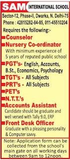 SAM International School Wanted PGT/TGT/PRT