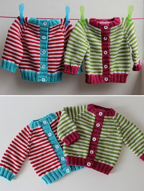 Little Coffee Bean Cardigan (Twins) - Free Pattern