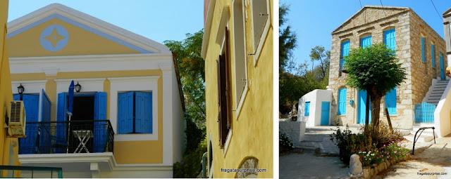 Casas típicas da ilha grega de Sými, no Dodecaneso