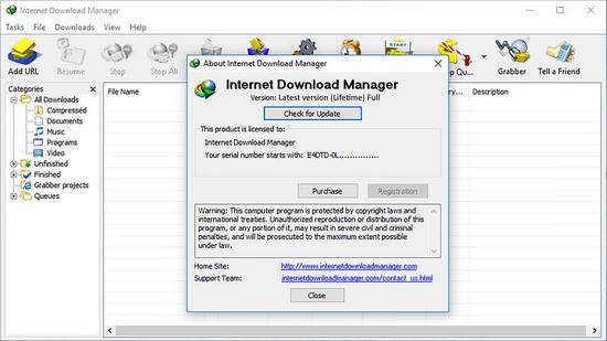 serial key of internet download manager