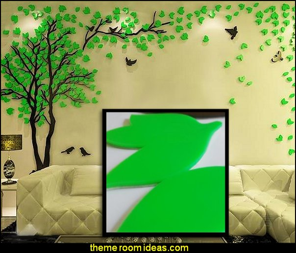 Green Tree Crystal Acrylic 3D Wall Stickers  Tree Murals - tree wall decals - tree wall murals - Tree Wallpaper - tree wall stickers -  decorating with trees - tree wallpaper mural - Outdoor Bedroom decorating ideas - birch trees - forest trees wallpaper murals - tree props
