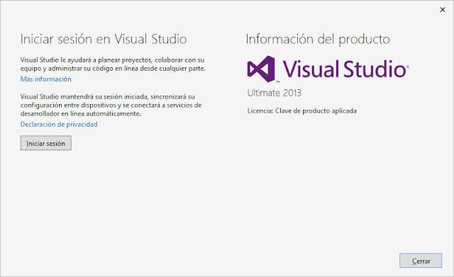 Serial de Activación Visual Studio Ultimate 2013