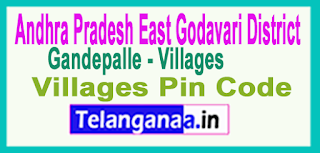 East Godavari District Gandepalle Mandal and Villages Pin Codes in Andhra Pradesh State