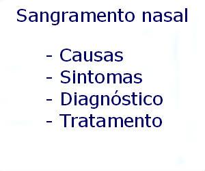 Sangramento nasal causas sintomas diagnóstico tratamento prevenção riscos complicações