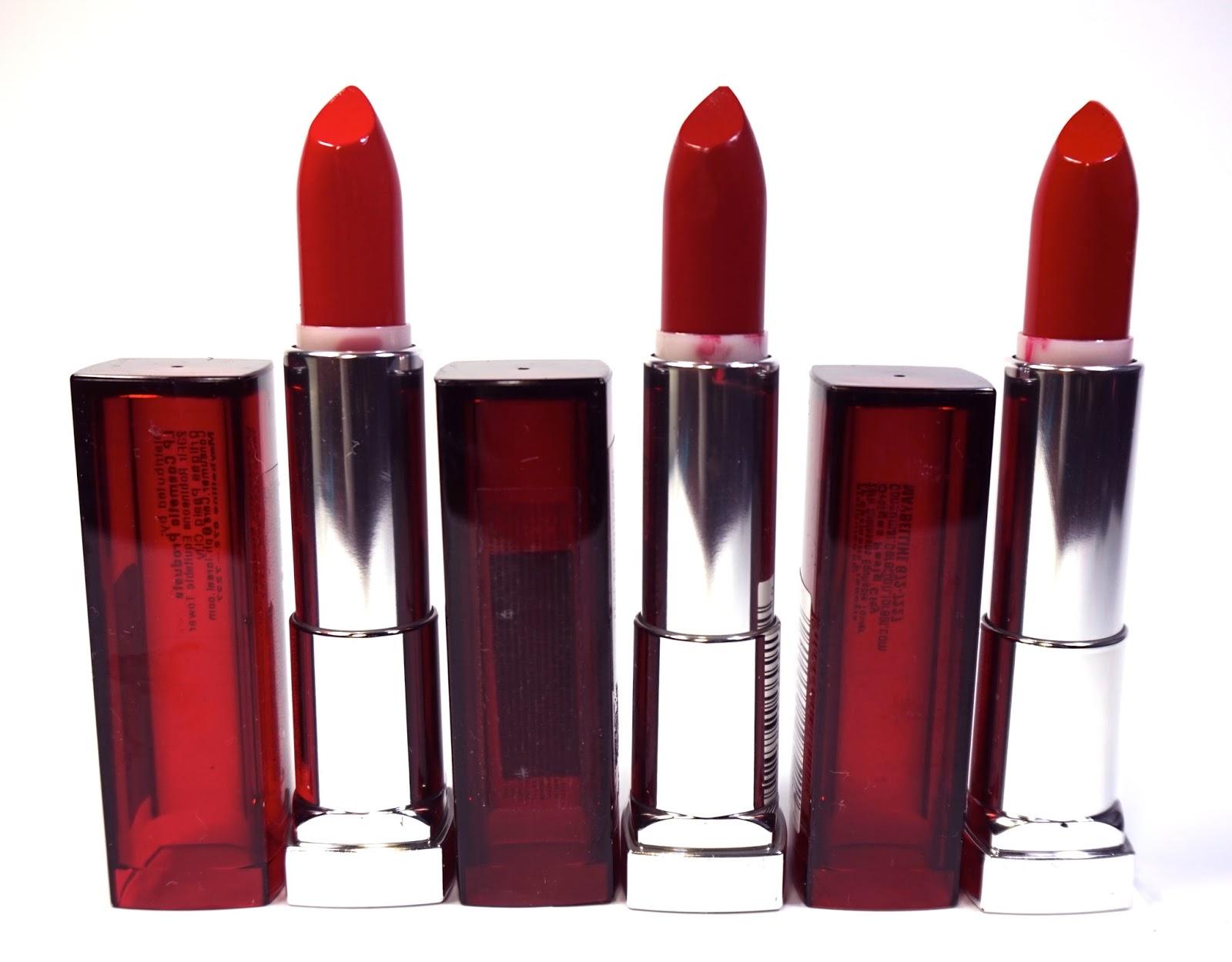 Maybelline Color Sensational Red Lipsticks Review ...