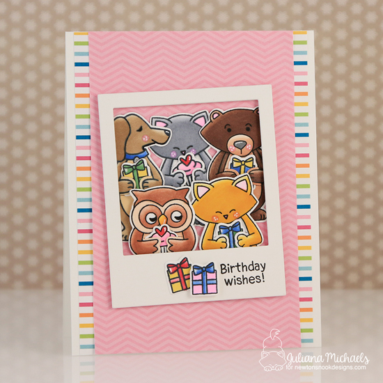Birthday Card by Juliana Michaels | Sending Hugs Stamp Set by Newton's Nook Designs #newtonsnook #handmade