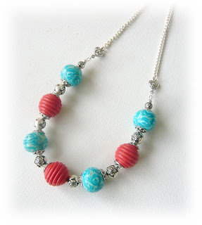 Turquoise & Peach Millefiori Necklace handmade from polymer clay