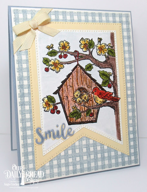 ODBD BIrdhouse, ODBD Gingham Background, ODBD Custom Inspiration Words Dies, ODBD Custom Large Banners Dies, ODBD Custom Pierced Rectangles Dies, Card Designer Angie Crockett
