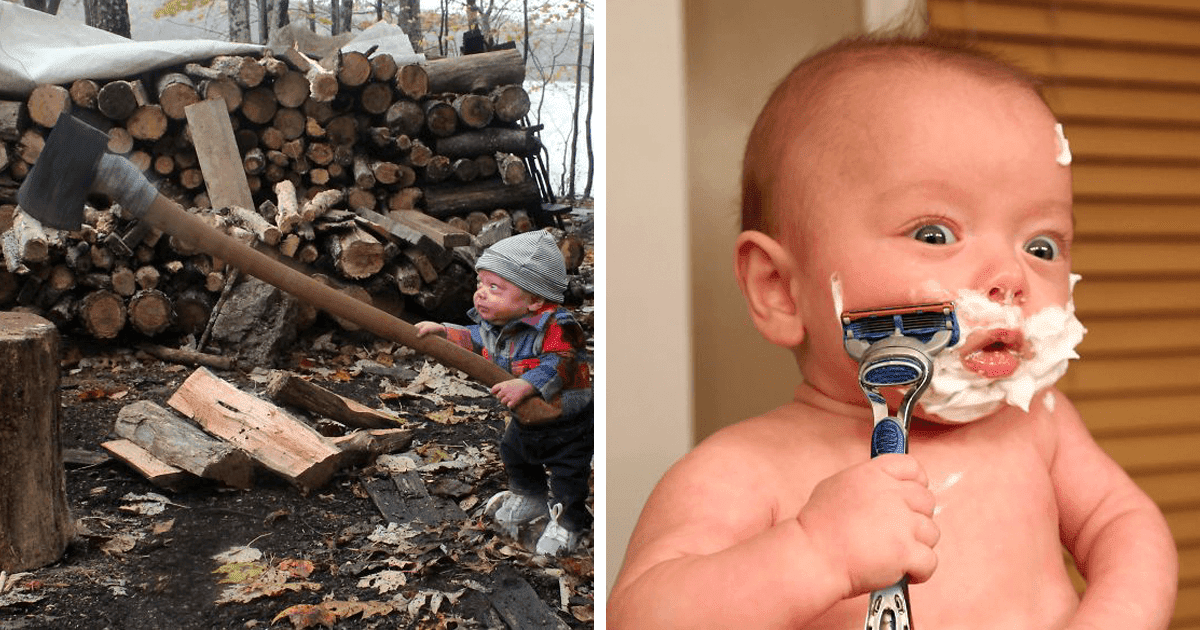 Dad Makes His Baby Do Things A Grown-Up Would Do, And The Photos Are Hilarious