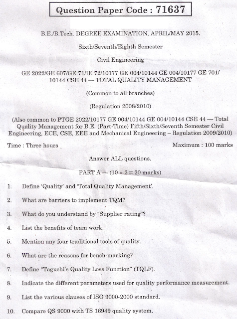 Total quality management question papers vtu - Homework