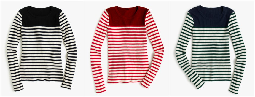 J. Crew Placed Stripe Rib T-Shirt $15 (reg $40)