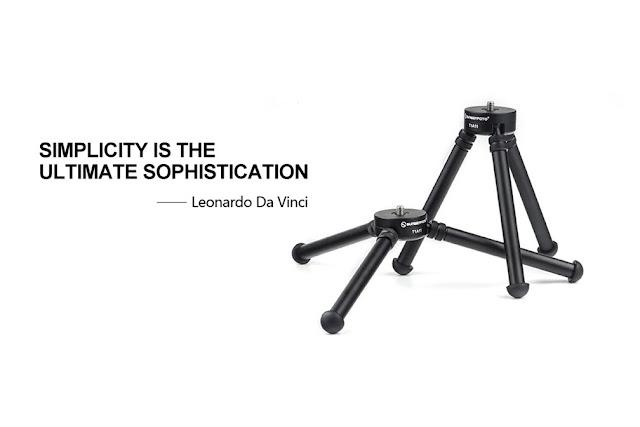 Sunwayfoto T1A11 Aluminium Tabletop Tripod with Leonardo Da Vinci moto
