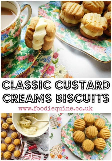 www.foodiequine.co.uk Custard Creams frequently top polls of the nation's favourite biscuit. This classic traditional homemade version is way better than shop bought with a crumbly melt in the mouth texture and a generous vanilla buttercream filling.