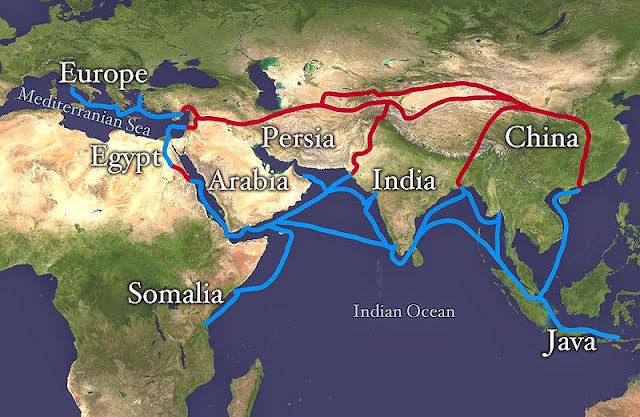 The Silk Route, both overland and maritime